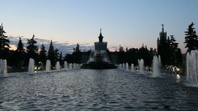 Fountain in Exhibition centre of Achievements of National Economy VDNH, Moscow, Russia stock video