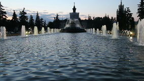 Fountain in Exhibition centre of Achievements of National Economy VDNH, Moscow, Russia stock footage