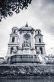 Fountain and facade of Saint-Sulpice, Paris Stock Photos