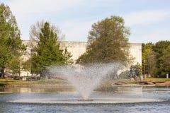 Fountain at the Fair Park, Dallas, Texas. DALLAS, USA - APR 8: Fountain at the Leonhardt Lagoon of the Fair Park in Dallas. April 8, 2016 in Dalls, Texas, United Stock Image