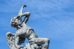 The Fountain of the Fallen Angel in Madrid, Spain. royalty free stock image
