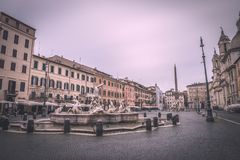 Piazza Navona. Fountain on famous square Piazza Navona in Rome at dawn, Italy Royalty Free Stock Image