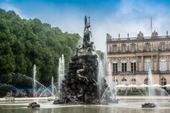 Fountain figures in front of castle Herrenchiemsee Royalty Free Stock Image