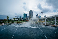 Fountain at First Ward Park in Uptown Charlotte, North Carolina. stock photos