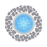 Fountain with flowing water top view vector illustration. Royalty Free Stock Photography