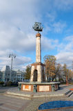 Fountain in the form of columns with caravel on top. Moscow, Fountain in the form of columns with caravel on top on Square in front of the Riga station Stock Photography