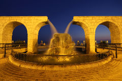 Fountain in form of two waterfalls in  night sky Stock Photography