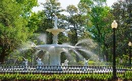 Fountain in Forsyth Park stock photo