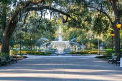 Fountain in Forsyth Park, Savannah royalty free stock images