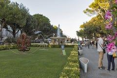Fountain of Four horses in Federico Fellini Park. Rimini, Italy. Stock Photography
