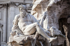 Fountain of the Four Rivers closeup at Piazza Navona. Stock Photography