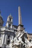 Fountain of the Four Rivers (Fontana dei Quattro Fiumi) with an Egyptian obelisk. Italy. Rome. Navon Square (Piazza Navona). Stock Image