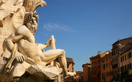 Fountain of the four rivers in Navona square. Rome, Italy stock images
