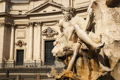 Fountain of the four rivers in Navona square. Rome. Italy stock images