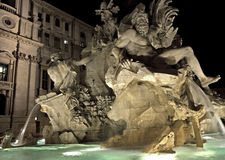 Fountain of the Four Rivers at night Royalty Free Stock Photo