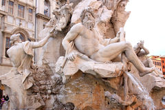 Fountain of Four Rivers at Piazza Navona, Rome. The central fountain at the Piazza Navona in the Italian capital of Rome is the Fontana dei Quatro Fiumi or the Royalty Free Stock Photos