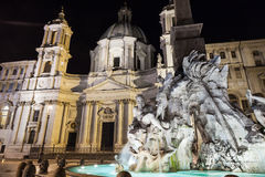 Fountain of four rivers in Piazza Navona, Rome Stock Photography