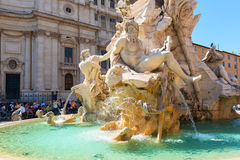 Fountain of the Four Rivers at Piazza Navona in Rome Stock Photo