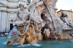 Fountain of Four Rivers at Piazza Navona, Rome Italy Royalty Free Stock Photos