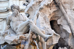 Fountain of Four Rivers at Piazza Navona, Rome Italy Stock Images