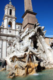 Fountain of the four rivers - Rome. Detail of the Fountain of the Four Rivers in Piazza Navona, Rome. Master piece of Gian Lorenzo Bernini Stock Images