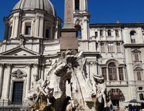 Fountain of the Four Rivers in Rome royalty free stock photos
