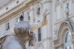 The Fountain of the four Rivers Statue of Rio de la Plata in Rome, Italy stock photography