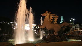 Fountain with the. Four Seasons(4 bronze horses) sculptural group in Alexander Gardens--was one of the first urban public parks inMoscow,Russia (night stock video