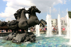 """Fountain """"Four seasons"""" at the Manege square in Moscow Stock Photo"""