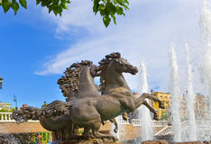 Fountain Four seasons), Manezhnaya Square,Moscow Stock Photo