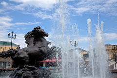 Fountain Four Seasons on Manezhnaya Square in Moscow Royalty Free Stock Photography
