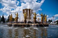 Fountain Friendship of Nations. In All-Russian Exhibition Centre in Moscow, Russia Royalty Free Stock Photography