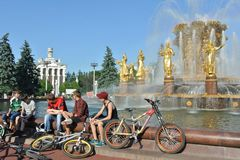 Fountain Friendship of Nations at All-russia Exhibition Center in Moscow Stock Photo