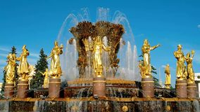 Fountain Friendship of nations in Moscow stock footage