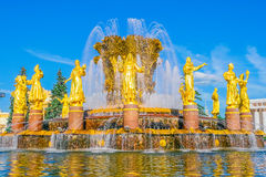 Fountain Friendship of nations in Moscow Stock Photos