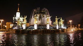 Fountain Friendship of Nations -- VDNKH (All-Russia Exhibition Centre), Moscow, Russia stock video footage