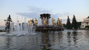 Fountain Friendship of Nations -- VDNKH (All-Russia Exhibition Centre), Moscow, Russia stock footage