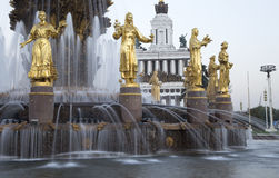 Fountain Friendship of Nations -- VDNKH All-Russia Exhibition Centre, Moscow, Russia Stock Images