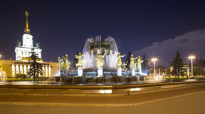 Fountain Friendship of Nations -- VDNKH All-Russia Exhibition Centre, Moscow, Russia Stock Photography