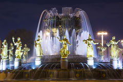 Fountain Friendship of Nations -- VDNKH All-Russia Exhibition Centre, Moscow, Russia Royalty Free Stock Images
