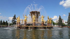 Fountain Friendship of Nations-- VDNKH, Moscow, Russia stock footage