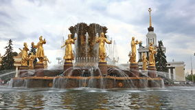Fountain Friendship of the people, VDNKh, Moscow stock footage
