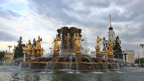 Fountain Friendship of the people, VDNKh, Moscow stock video footage