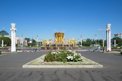 Fountain `Friendship of peoples` at ENEA on a Sunny summer day, Moscow, Russia. Moscow, Russia - August 14, 2018: Fountain `Friendship of peoples` at VDNH stock photos