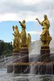 Fountain of Friendship of peoples at Exhibition Center in Moscow Stock Images