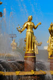 Fountain Friendship of Peoples at the Exhibition Center. Stock Photos