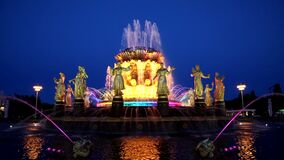 Fountain `Friendship of peoples` on the territory of the All-Russian exhibition center VDNH at night.