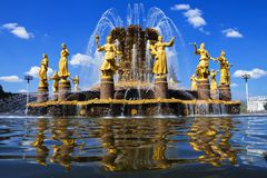 Fountain Friendship of Peoples of the USSR at the Exhibition Center, Moscow, Russia. Stock Photos