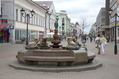 Fountain with frogs on the street Bauman, cloudy may afternoon. Kazan, Tatarstan Royalty Free Stock Photo