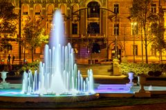 The fountain in front of the art pavilion. In park Zrinjevac in Zagreb and King Tomislav square Royalty Free Stock Images